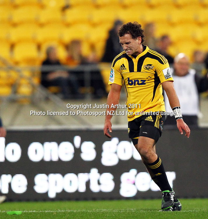 Aaron Cruden reacts.Investec Super 15 rugby match - Hurricanes v Lions, at Westpac Stadium, Wellington, New Zealand on Saturday 4 June 2011. Photo: Justin Arthur / photosport.co.nz