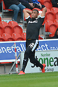 Reece Wabara of Barnsley FC takes throw in during the Sky Bet League 1 match between Doncaster Rovers and Barnsley at the Keepmoat Stadium, Doncaster, England on 3 October 2015. Photo by Ian Lyall.