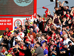 Exeter City fans - Mandatory by-line: Robbie Stephenson/JMP - 14/04/2018 - FOOTBALL - Wham Stadium - Accrington, England - Accrington Stanley v Exeter City - Sky Bet League Two