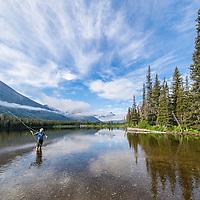 flyfishing two medicine lake, glacier national park