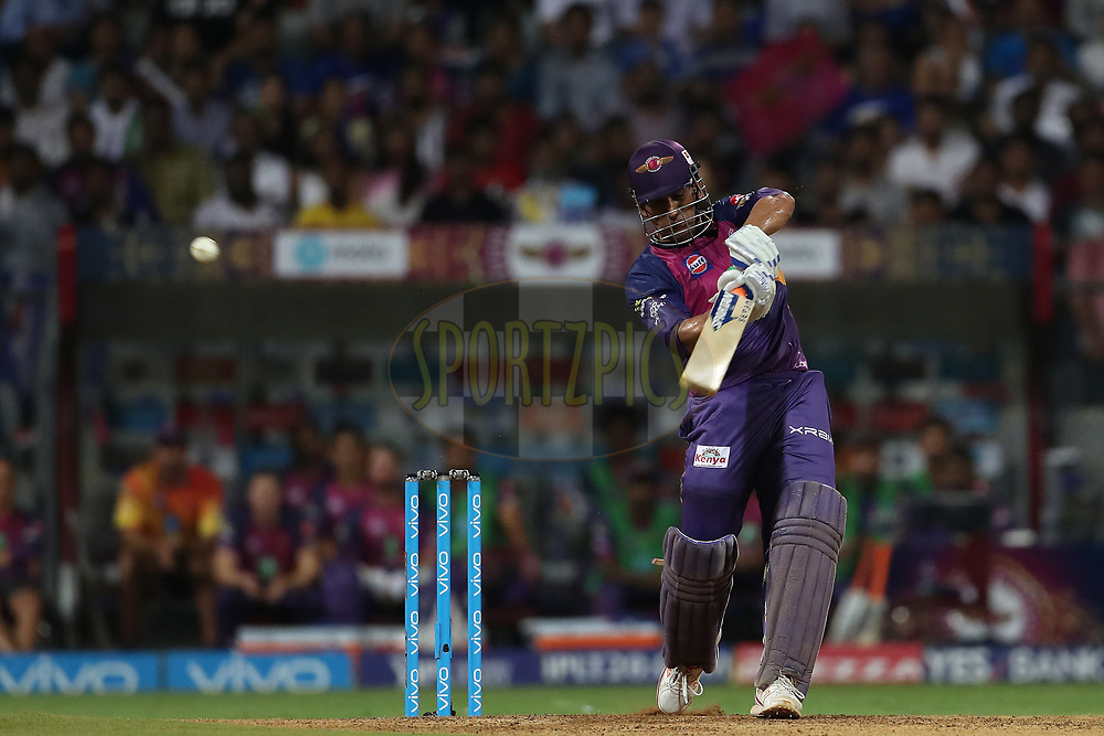 MS Dhoni of Rising Pune Supergiant hits over the top for six during The Qualifier 1 match (match 57) of the Vivo 2017 Indian Premier League between the Mumbai Indians and the Rising Pune Supergiant held at the Wankhede Stadium in Mumbai, India on the 16th May 2017<br /> <br /> Photo by Ron Gaunt - Sportzpics - IPL