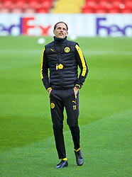 LIVERPOOL, ENGLAND - Wednesday, April 13, 2016: Borussia Dortmund's head coach Thomas Tuchel during a training session at Anfield ahead of the UEFA Europa League Quarter-Final 2nd Leg match against Liverpool. (Pic by David Rawcliffe/Propaganda)