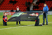 A Kick It Out Campaign banner shown before the EFL Sky Bet League 1 match between Doncaster Rovers and Bristol Rovers at the Keepmoat Stadium, Doncaster, England on 26 March 2019.