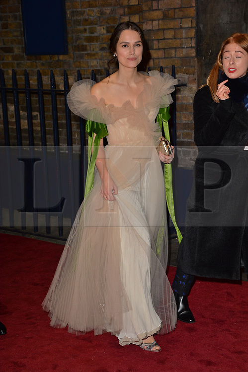 © Licensed to London News Pictures. 03/12/2017. London, UK.   KIERA KNIGHTLEY attends the London Evening Standard Theatre Awards 2017 held at the Theatre Royal, Dury Lane. Photo credit: Ray Tang/LNP