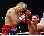 WBA Heavyweight Champion Nikolai Valuev who defends his world title against Britain's David Haye in Germany on Nov 7th 2009 in action during his defeat to Ruslan Chagaev.