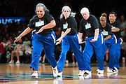 The Timeless Trotters perform during a timeout in a game between the New York Liberty and Phoenix Mercury during the second round of the W.N.B.A. playoffs at Madison Square Garden in New York on September 24, 2016. (Cooper Neill for The New York Times)