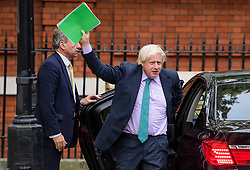© Licensed to London News Pictures. 21/09/2017. London, UK. British Foreign Secretary BORIS JOHNSON seen arriving back at his Westminster home ahead of a cabinet meeting. Boris Johnson and British prime minister Theresa May recently returned from a trip to New York, during which there were rumours Boris Johnson would quit his government roll over Theresa May's approach to Brexit. Photo credit: Ben Cawthra/LNP