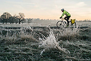 UNITED KINGDOM, London: 18 January 2017 A cyclist makes his way through a frosty Richmond Park during sunrise this morning. Temperatures dropped to -4C in certain parts of the capital last night causing wide spread frost. Rick Findler / Story Picture Agency