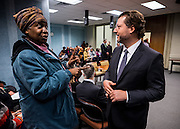 Council member David Grosso talks with a visitor during the Committee on Education open house at the John A. Wilson Building in Washington, DC. <br /> <br /> <br /> PHOTOS/John Nelson