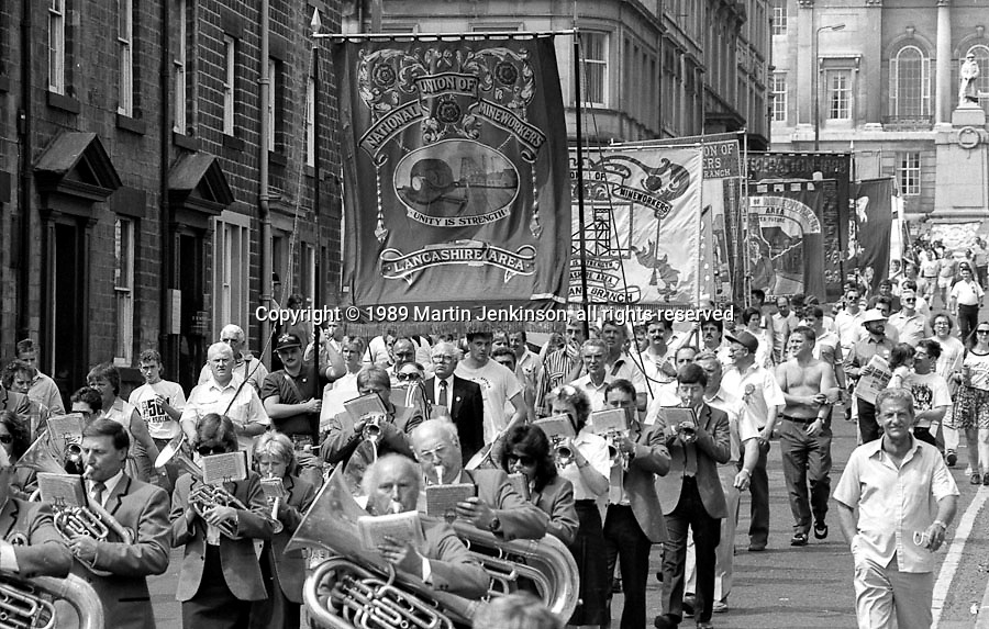 Lancashire Area banner. NUM Centenary Demonstration and Gala, Barnsley.