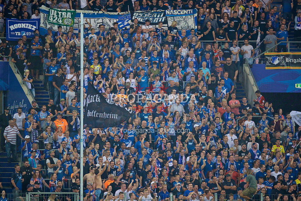 SINSHEIM, GERMANY - Tuesday, August 15, 2017: TSG 1899 Hoffenheim supporters during the UEFA Champions League Play-Off 1st Leg match between TSG 1899 Hoffenheim and Liverpool at the Rhein-Neckar-Arena. (Pic by David Rawcliffe/Propaganda)
