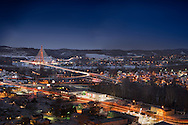 Night time on 3rd day after winter storm Jonas that innundated the region with snow.  This shot overlooks the 31st street bridge, the Ohio River and the towns of Huntington, Guyandotte in West Virginia and Proctorville, Ohio.  This view comes from the overlook at Rotary Park in Huntington, WV.