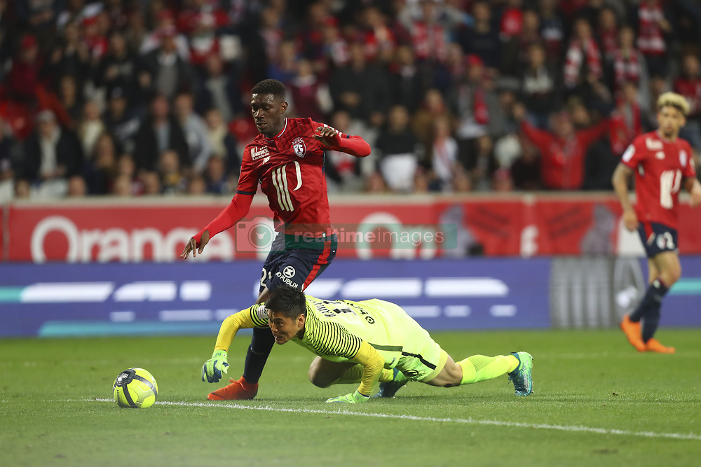 April 28, 2018 - Villeneuve D Ascq, France - Yves Bissouma ( Lille ) vs Eiji Kawashima  (Credit Image: © Panoramic via ZUMA Press)