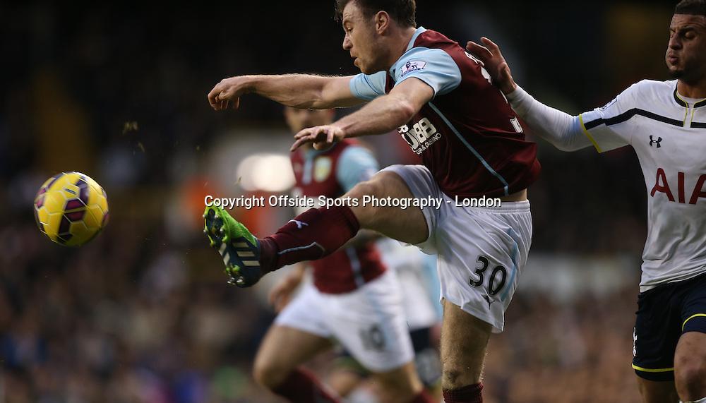 20 December 2014 Premeir League Football - Tottenham Hostpur v Burnley; Ashley Barnes of Burnley shoots.<br />  Photo: Mark Leech.