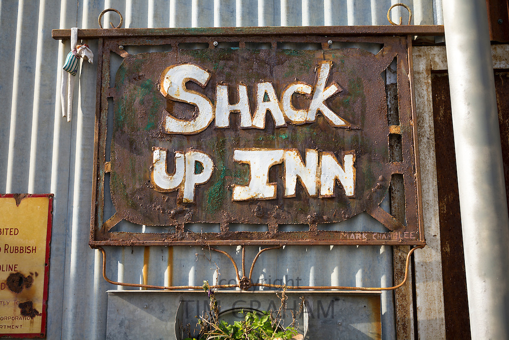 Sign at front entrance of The Shack Up Inn cotton sharecroppers theme hotel, Clarksdale, Mississippi, USA