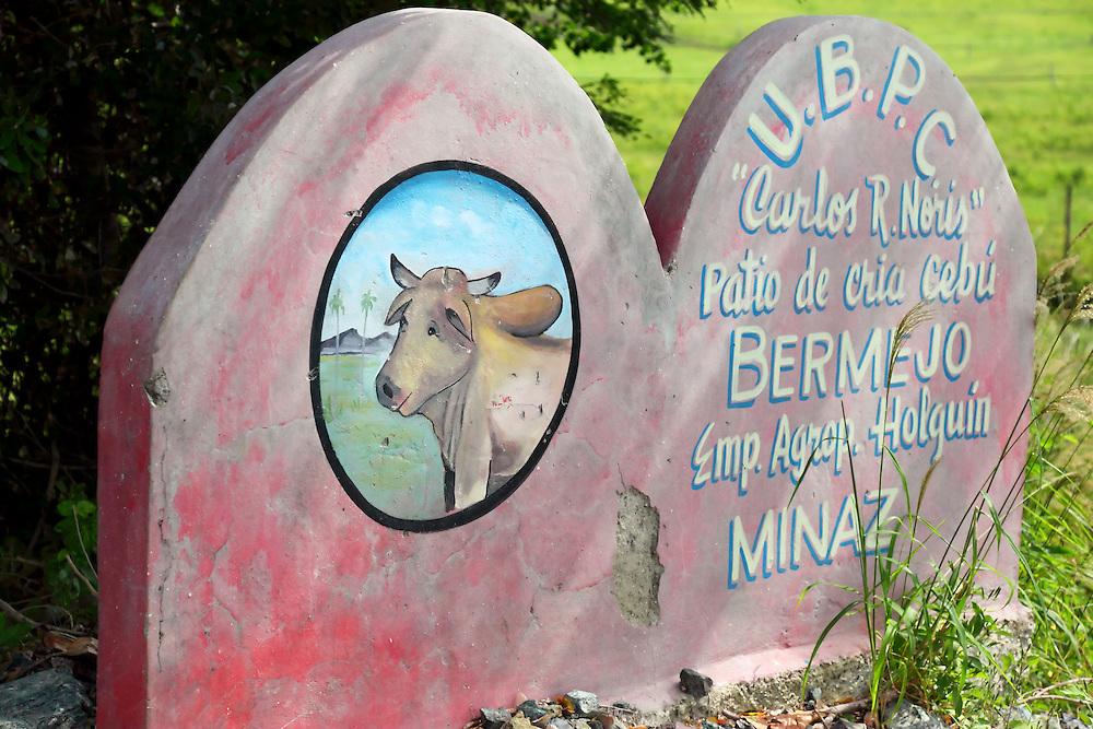 Farm sign near Playa Blanca, Holguin, Cuba.