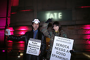 Fraser Kee Scott and Emily Strange. ( she's in band 'Client' ) STUCKISTS. Turner Prize 2005. Tate Britain.   5 December  2005. ONE TIME USE ONLY - DO NOT ARCHIVE  © Copyright Photograph by Dafydd Jones 66 Stockwell Park Rd. London SW9 0DA Tel 020 7733 0108 www.dafjones.com