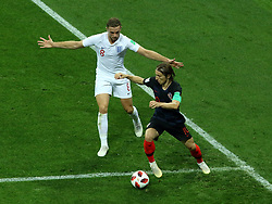 July 11, 2018 - Moscow, Russia - July 11, 2018, Moscow, FIFA World Cup 2018 Football, the playoff round. 1/2 finals of the World Cup. Football match Croatia - England at the stadium Luzhniki. Player of the national team Jordan Henderson (8), Luka Modric  (Credit Image: © Russian Look via ZUMA Wire)