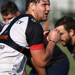 Etienne Oosthuizen  during The Cell C Sharks training session at Growthpoint Kings Park in Durban, South Africa. 5th July 2017(Photo by Steve Haag)<br /> <br /> images for social media must have consent from Steve Haag