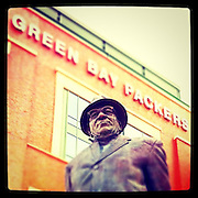 Statue of Vince Lombardi outside Lambeau Field in Green Bay. iPhone photo with Instagram app. (Sam Lucero photo)