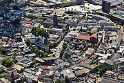 Nederland, Overijssel, Enschede, 30-06-2011; binnenstad  met Oude Markt. Stadhuis (toren met koperoxidatie-spits, de Grote Kerk (links beneden en de twee koepels van de RK-kerk uit de jaren '30..Center of Enschede, churches and city hall..luchtfoto (toeslag), aerial photo (additional fee required).copyright foto/photo Siebe Swart