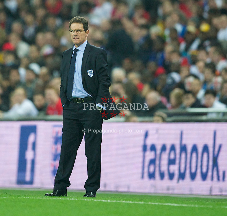 LONDON, ENGLAND - Tuesday, March 29, 2011: England's head coach Fabop Capello in action against Ghana during the international friendly match at Wembley Stadium. (Photo by David Rawcliffe/Propaganda)