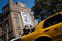 27 October, 2008. New York. A giant banner of Picasso's portrait of Stalin hangs from the Cooper Union building. The banner, Stalin by Picasso or Portrait of Woman with Moustache, is the centerpiece of a new solo exhibition by Norwegian artist Lene Berg that explores the relationship between art and politics.<br /> <br /> ©2008 Gianni Cipriano for The New York Times<br /> cell. +1 646 465 2168 (USA)<br /> cell. +1 328 567 7923 (Italy)<br /> gianni@giannicipriano.com<br /> www.giannicipriano.com