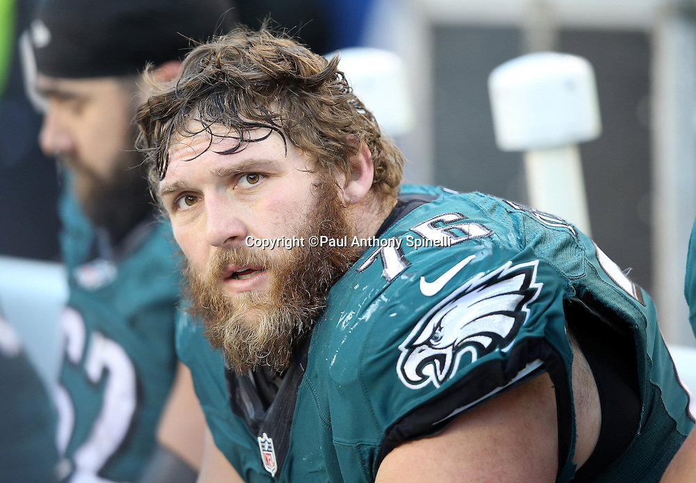 Philadelphia Eagles offensive guard Allen Barbre (76) looks on from the sideline during the 2015 week 10 regular season NFL football game against the Miami Dolphins on Sunday, Nov. 15, 2015 in Philadelphia. The Dolphins won the game 20-19. (©Paul Anthony Spinelli)