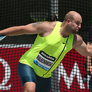 Piotr Malachowski, Poland, in action during the Men's Discus competition during the Diamond League Adidas Grand Prix at Icahn Stadium, Randall's Island, Manhattan, New York, USA. 14th June 2014. Photo Tim Clayton