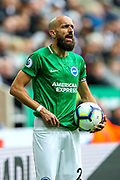 Bruno Saltor (#2) of Brighton & Hove Albion at a throw in the Premier League match between Newcastle United and Brighton and Hove Albion at St. James's Park, Newcastle, England on 20 October 2018.