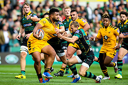 Sione Vailanu of Wasps is tackled by Rory Hutchinson of Northampton Saints - Mandatory by-line: Robbie Stephenson/JMP - 28/09/2019 - RUGBY - Franklin's Gardens - Northampton, England - Northampton Saints v Wasps - Premiership Rugby Cup