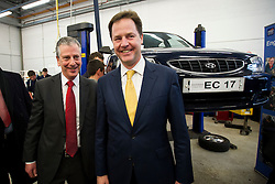 © London News Pictures. 11/02/2013 . Eastleigh, UK.  Leader of the Liberal Democrat Party, NICK CLEGG (right)  with the Liberal Democrat part candidate for the Eastleigh by-election MIKE THORNTON (left) during a visit to the automotive studies department at Eastleigh College in Eastleigh, Hampshire on February 11, 2013. The by-election was called when the former MP for Eastleigh, Chris Hune, resigned after admitting perverting the course of justice. Photo credit : Ben Cawthra/LNP