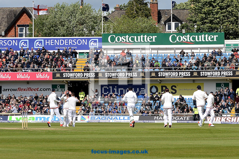 England players celebrate after Ross Taylor of New Zealand is dismissed by a catch from Ben Stokes off the bowling of Mark Wood (3rd left) of England during the Investec Test Match match at Headingley Carnegie Cricket Ground, Headingley<br /> Picture by Ian Wadkins/Focus Images Ltd +44 7877 568959<br /> 31/05/2015