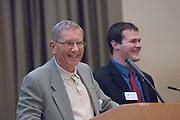18174Sales Celebration and Awards Ceremony, April 19, 2007. Walter Hall Rotunda...Mr. Hal Harbeitner presenting Harbeitner scholarship to Robert Fenner