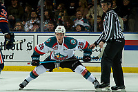 KELOWNA, CANADA - DECEMBER 29: Liam Kindree #26 of the Kelowna Rockets lines up for the face off against the Kamloops Blazers  on December 29, 2018 at Prospera Place in Kelowna, British Columbia, Canada.  (Photo by Marissa Baecker/Shoot the Breeze)