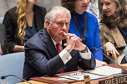 April 28, 2017 - New York, New York, United States - U.S. Secretary of State REX TILLERSON is seen during the Security Council meeting. The United Nations Security Council convened a ministerial-level meeting regarding the ongoing nuclear threat posed by the Democratic People's Republic of Korea. The meeting, presided over by U.S. Secretary of State Rex Tillerson, comes at the conclusion of the United States' month-long tenure as President of the Security Council. (Credit Image: © Albin Lohr-Jones/Pacific Press via ZUMA Wire)