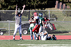 07 October 2006: An official signals TouchDown! after Brett Mitchell breaks the plane. The Titans of Illinois Wesleyan University started off strong with a touchdown on the 2nd play from scrimmage in the game.  The Titans led most of the way, but failed to maintain the lead in the 4th quarter giving up the decision of this CCIW conference game to the Red Men of Carthage by a score of 31 - 28. Action was at Wilder Field on the campus of Illinois Wesleyan University in Bloomington Illinois.<br />