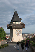 Uhrturm, Schlossberg, UNESCO Welterbestätte Stadt Graz – Historisches Zentrum, Steiermark, Österreich |  Clock tower, Schlossberg, UNESCO World Heritage Site city of Graz - Historic Centre, Steiermark, Austria