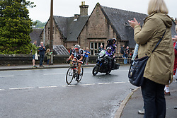Lucinda Brand leads going into the foot of the first categorised climb - Stage 4 of the OVO Energy Women's Tour - a 123 km road race, starting and finishing in Chesterfield on June 10, 2017, in Derbyshire, United Kingdom. (Photo by Sean Robinson/Velofocus.com)
