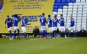 Demerai Gray celebrates scoring third goal during the Sky Bet Championship match between Birmingham City and Reading at St Andrews, Birmingham, England on 13 December 2014.