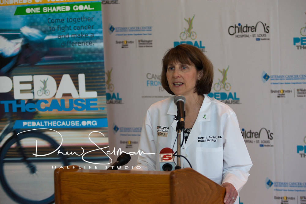 May 12, 2011 (St. Louis, MO) - Dr. Nancy L. Bartlett, Professor in the Washington University Medical School talks about the results that are being achieved through research funded by events like Pedal the Cause.   Dr. Bartlett is a leading Oncologist researching and developing treatments for cancer that target only the cancerous cells and leaving the healthy cells behind, allowing patients to suffer less side-effects  and obtain better outcomes...Pedal the Cause, founded in 2008, provides funding for cancer research at Siteman Cancer Center and St. Louis Children's Hospital through its annual cycling challenge.  The charity is driven by the singular hope that research funded by Pedal the Cause will ultimately lead to a  cure for cancer.