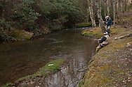 Matt Reed and his Dad Mary Reed fishing on opening day of Trout Season in NC