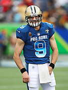 Jan 28, 2018; Orlando, FL, USA; NFC quarterback Drew Brees of the New Orleans Saints (9) smiles while warming up before playing in the 2018 NFL Pro Bowl at Camping World Stadium. The AFC defeated the NFC 24-23. (Steve Jacobson/Image of Sport)