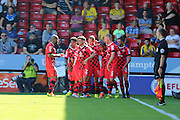 Walsall FC striker Simeon Jackson (9) celebrates as his goal makes it 2-0 to Walsall during the EFL Sky Bet League 1 match between Walsall and AFC Wimbledon at the Banks's Stadium, Walsall, England on 6 August 2016. Photo by Stuart Butcher.