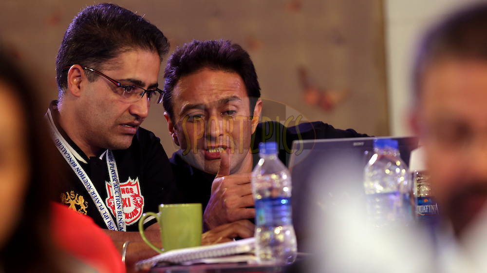 Ness Wadia of Kings XI Punjab during the Pepsi IPL Player Auction held at the ITC Gardenia in Bengaluru, India on the 13th February 2014<br /> <br /> Photo by Sandeep Shetty/BCCI/SPORTZPICS