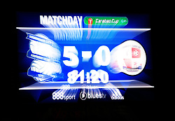 Slow shutter shot of the scoreboard at St Andrews as Birmingham City lead Crawley Town 5-0 (final score 5-1) - Mandatory by-line: Paul Roberts/JMP - 08/08/2017 - FOOTBALL - St Andrew's Stadium - Birmingham, England - Birmingham City v Crawley Town - Carabao Cup