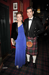 AMANDA HAMILTON and CRAWFURD HILL at the Johnnie Walker Blue Label great Scot Award 2010 in association with The Spectator and Boisdale held at Boisdale of Belgravia, 22 Ecclestone Street, London SW1 on 24th February 2010.