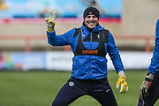 Forest Green Rovers goalkeeper Cameron Belford(30) warming up during the EFL Sky Bet League 2 match between Morecambe and Forest Green Rovers at the Globe Arena, Morecambe, England on 17 February 2018. Picture by Shane Healey.