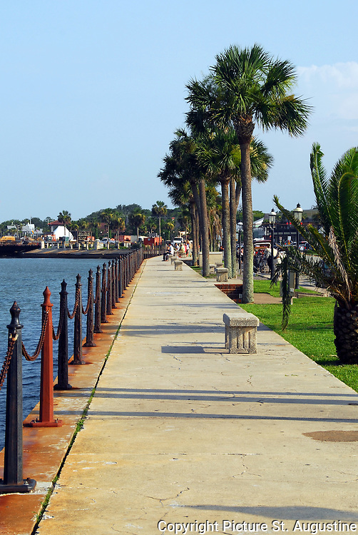 The seawall on Matanza's Bay in downtown St. Augustine, Florida. This portion of the seawall runs between the Castillo de San Marco and the Bridge of Lions. St. Augustine is the Nation's oldest continually occupied city. It was founded in 1565 by Pedro Menendez de Aviles.