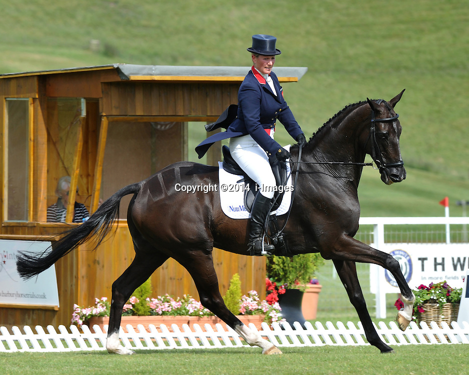 Image ©Licensed to i-Images Picture Agency. 04/07/2014. Barbury, United Kingdom. Day 2. Zara Phillips on Black Tuxedo. Picture by  i-Images